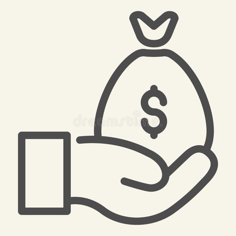 Geldzak op het pictogram van de handlijn Contant geldzak in palm vectordieillustratie op wit wordt geïsoleerd Wapen met de stijl  stock illustratie