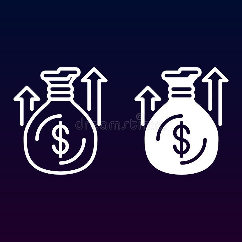Geldzak of zak met omhooggaande pijlenlijn en stevig pictogram, overzicht en gevuld vectorteken, lineair en volledig die pictogra royalty-vrije illustratie