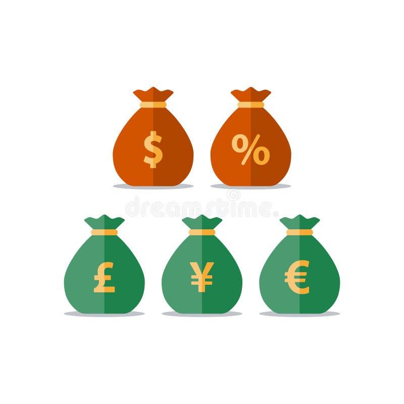Geldzakken, de Yen euro teken van het dollarpond, muntuitwisseling, besparingen en investering, financiële oplossing vector illustratie