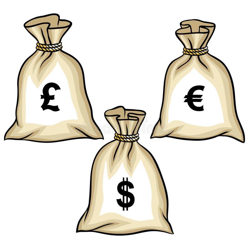 geldzakken met dollars euro en pond vector vector