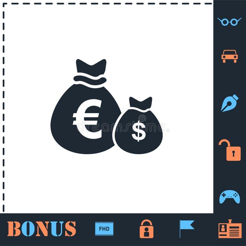 Geldzakken met vlak valutasymbolenpictogram royalty-vrije illustratie