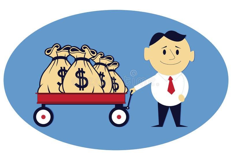 Geldzakken op de Stootkar vector illustratie