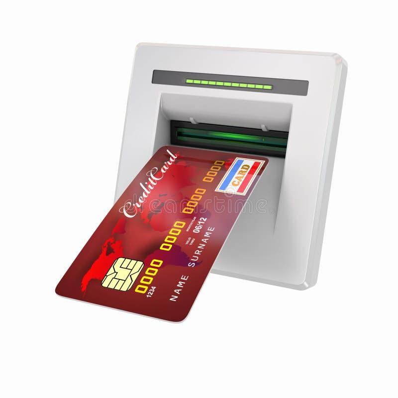 Geldzurücknahme. ATM und Gutschrift oder Debitkarte vektor abbildung