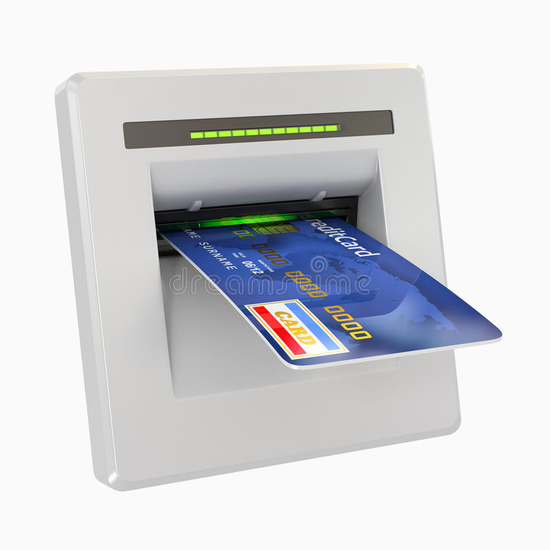 Geldzurücknahme. ATM und Gutschrift oder Debitkarte stock abbildung