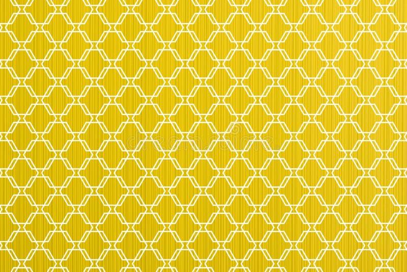 Gele abstracte document macro de textuur witte sier van de lijnenstijl stock illustratie
