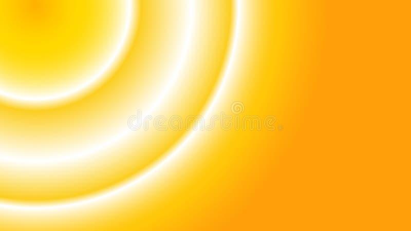 Gele abstracte kosmische magische magische mooie ongebruikelijke lichte ring op een gele achtergrond die in het linkerhoek en exe royalty-vrije illustratie