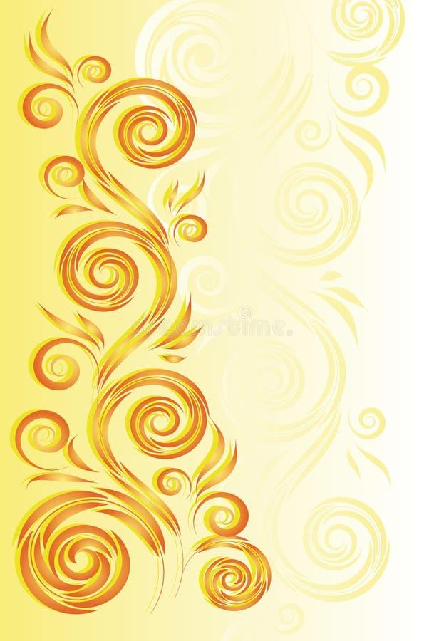 Gele achtergrond met bloemenornament stock illustratie