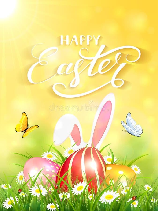 Gele achtergrond met konijn en drie paaseieren in gras vector illustratie