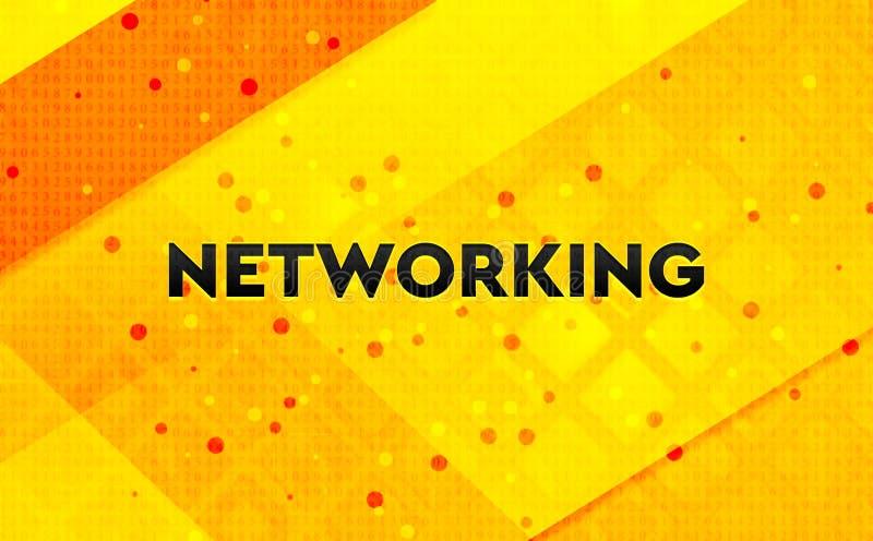 Gele achtergrond van de voorzien van een netwerk de abstracte digitale banner royalty-vrije illustratie