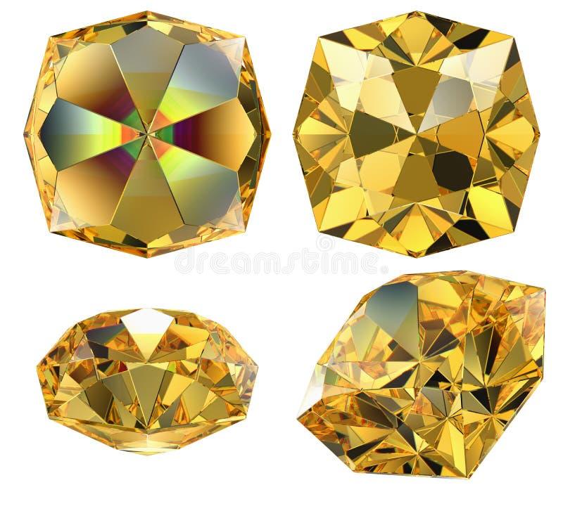 Gele amber geïsoleerdeb gem vector illustratie