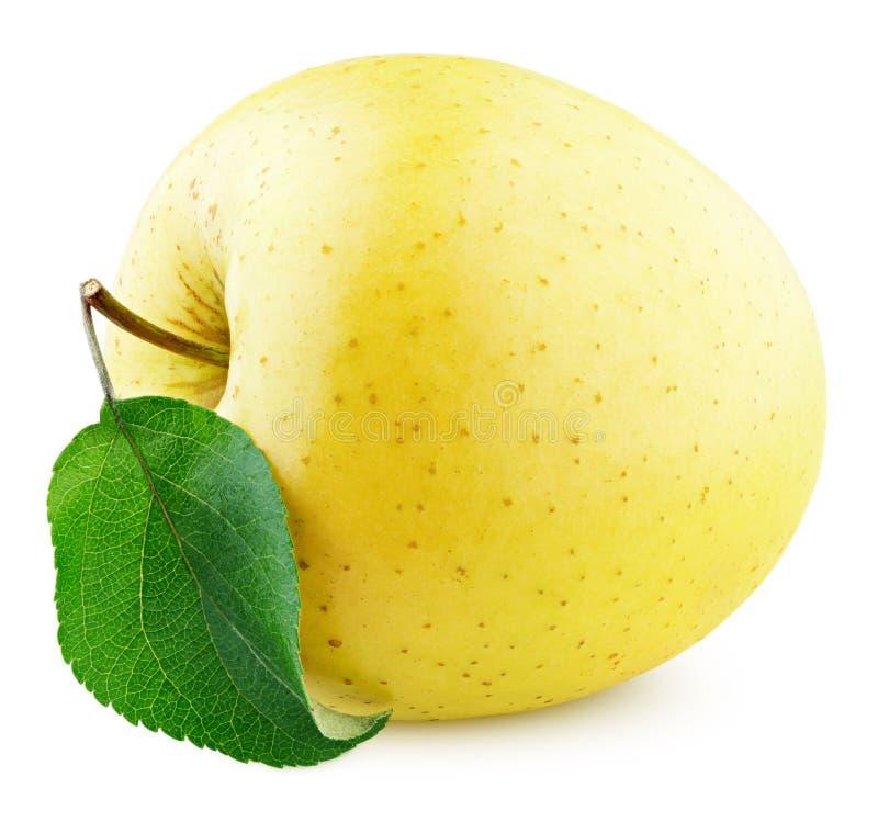 Gele appelvruchten met groen blad geïsoleerd op wit royalty-vrije stock afbeelding