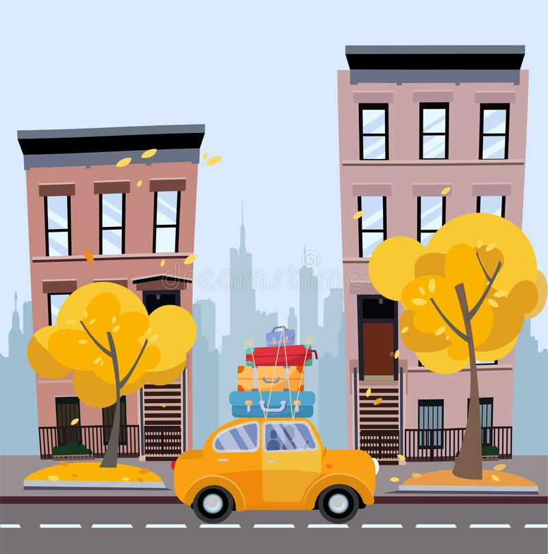 Gele auto met koffers op het dak tegen achtergrond van de herfstcityscape Stadslandschap met plattelandshuisjes, silhouet van stock illustratie