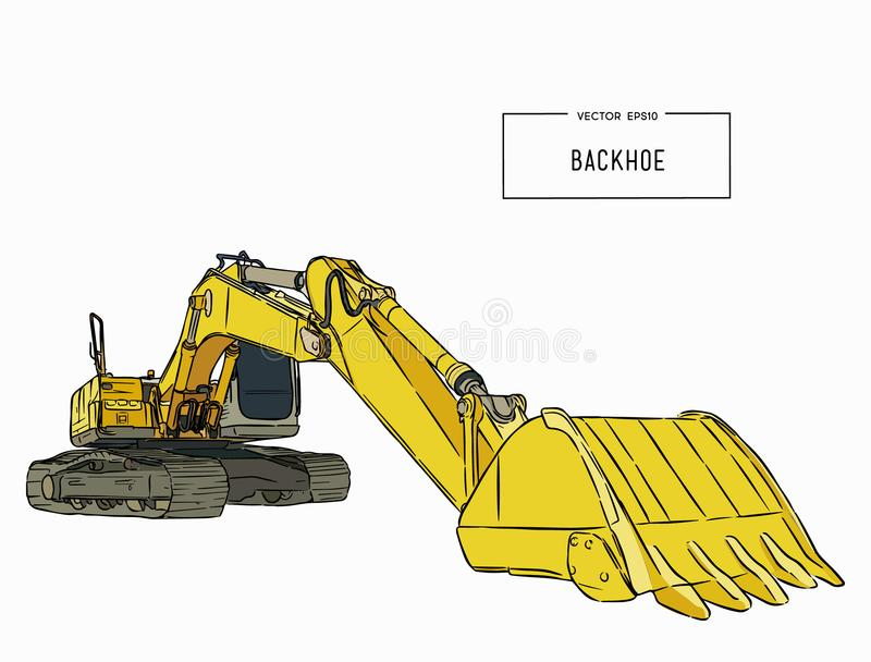Gele backhoe lader, schetsvector stock illustratie