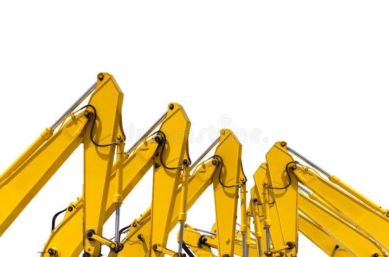 Gele backhoe met hydraulisch die zuigerwapen op wit wordt geïsoleerd Zware machine voor uitgraving in bouwwerf Hydraulische Machi stock fotografie