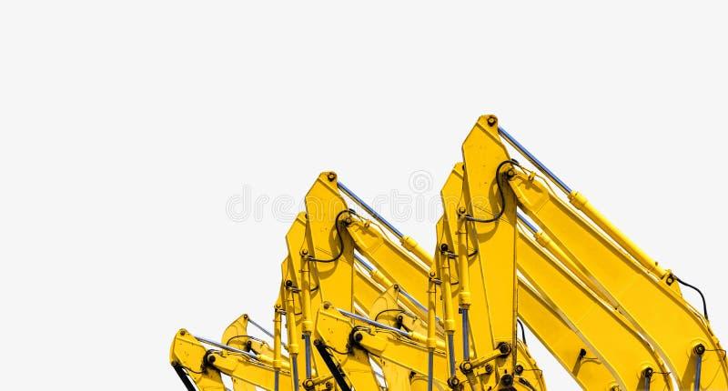 Gele backhoe met hydraulisch die zuigerwapen op wit wordt ge?soleerd Zware machine voor uitgraving in bouwwerf Hydraulische Machi stock foto
