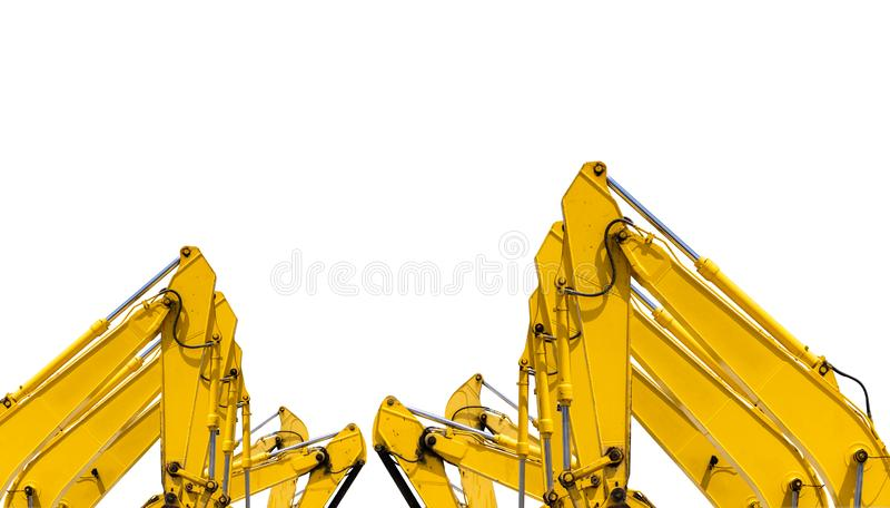 Gele backhoe met hydraulisch die zuigerwapen op wit wordt ge?soleerd Zware machine voor uitgraving in bouwwerf Hydraulische Machi stock afbeelding