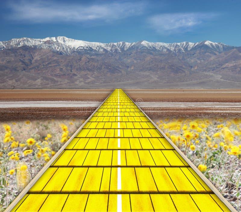 Gele baksteenweg royalty-vrije illustratie