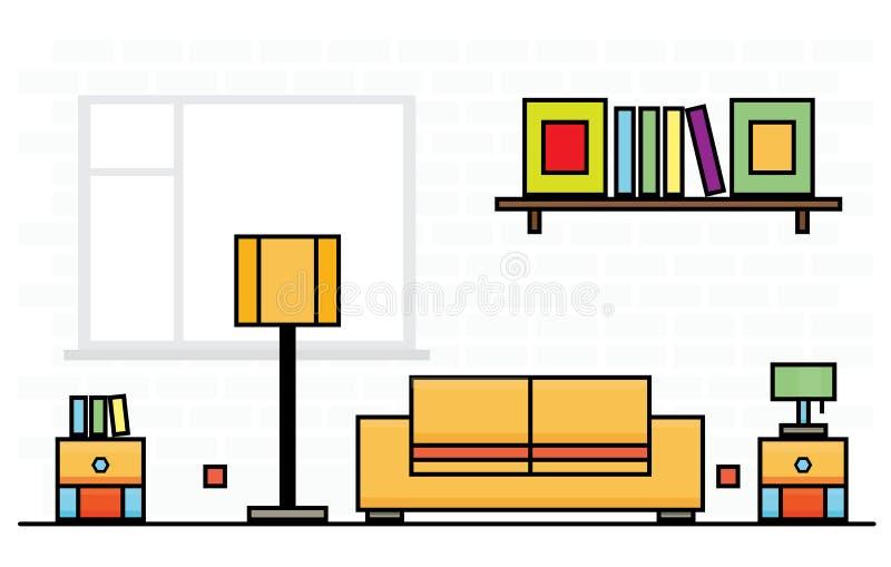 Gele Bank met Twee Stoepranden en Lampekap royalty-vrije illustratie