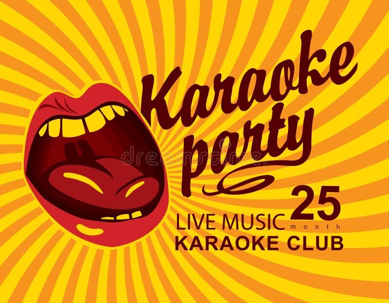 Gele banner voor club met mond het zingen karaoke stock illustratie