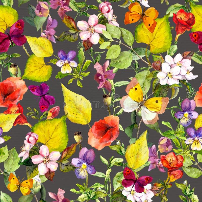 Gele bladeren, bloemen, vlinders De herfst die bloemenachtergrond herhalen watercolor royalty-vrije stock afbeeldingen