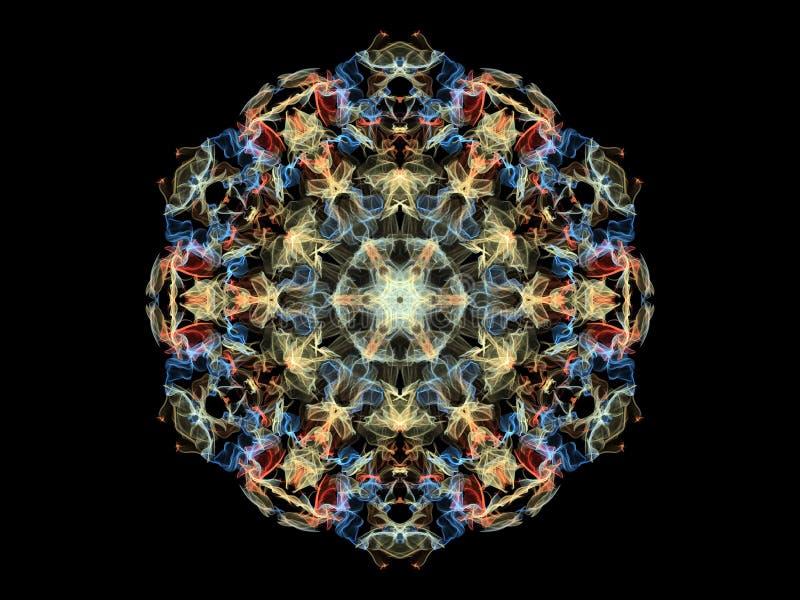 Gele, blauwe en rode mandalabloem van de neon abstracte vlam, sier bloemen rond patroon op zwarte achtergrond Yogathema stock illustratie