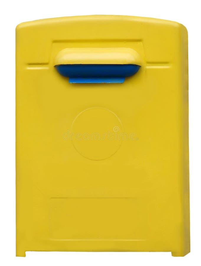 Gele blauwe openbare die brievenbus op de witte achtergrond wordt geïsoleerd royalty-vrije stock fotografie