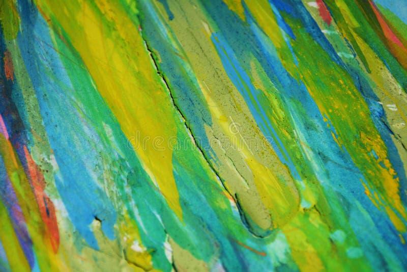 Gele blauwe oranje modderige contrasten, de creatieve achtergrond van de verfwaterverf stock afbeeldingen