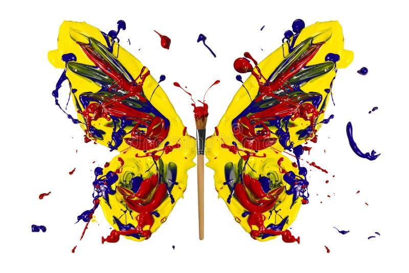 Gele blauwe rode verf gemaakt tot vlinder royalty-vrije illustratie