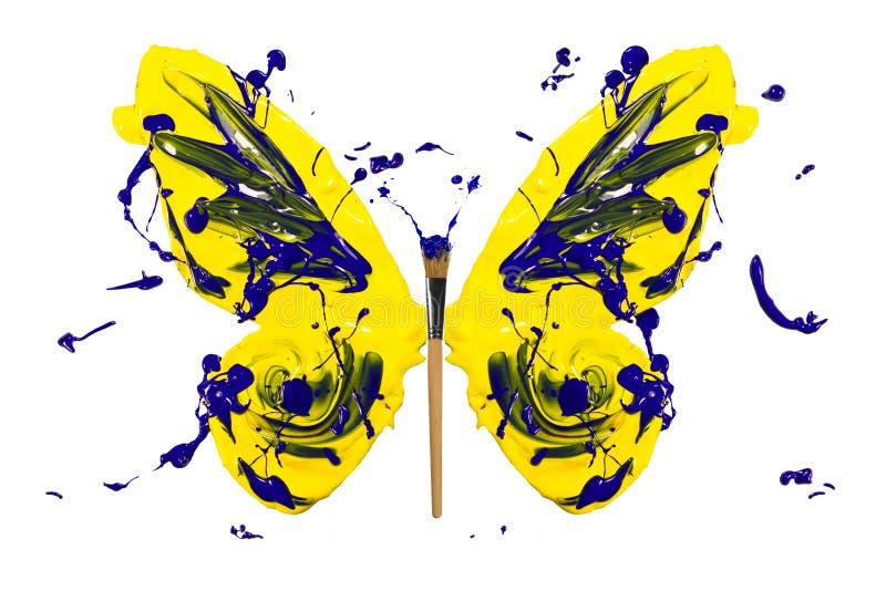 Gele blauwe verfplons gemaakt tot vlinder royalty-vrije illustratie