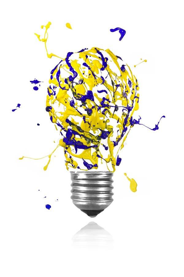 Gele blauwe verfuitbarsting gemaakt tot gloeilamp royalty-vrije illustratie