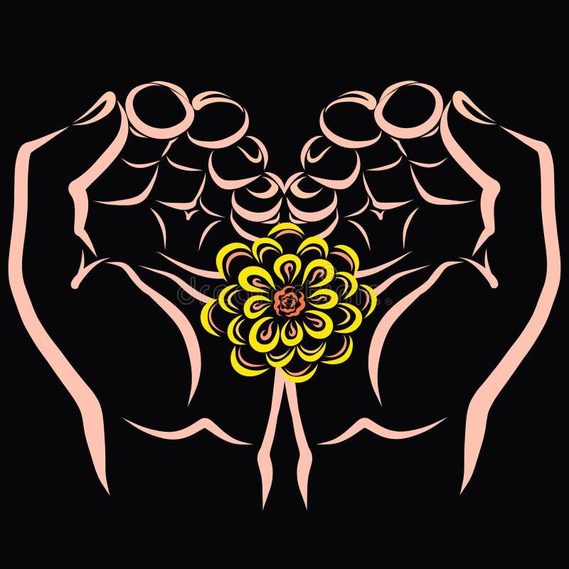 Gele bloem in handen die een hart vormen vector illustratie