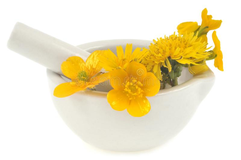 Gele bloemen in een mortier met een stamper royalty-vrije stock fotografie