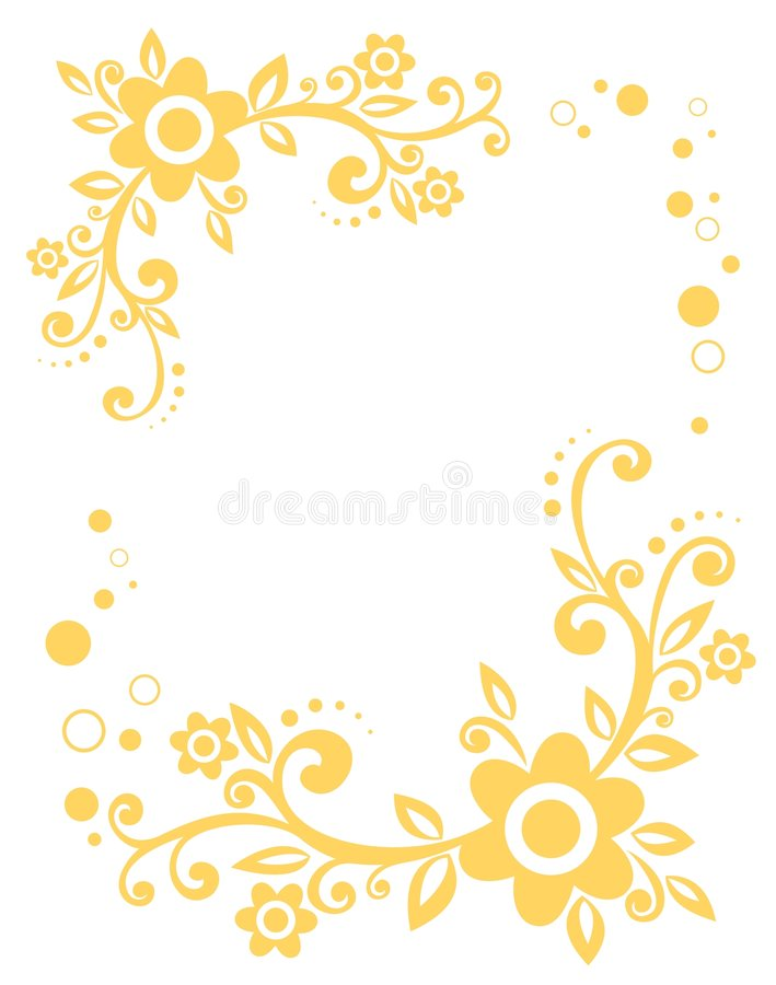 Gele bloemengrens stock illustratie
