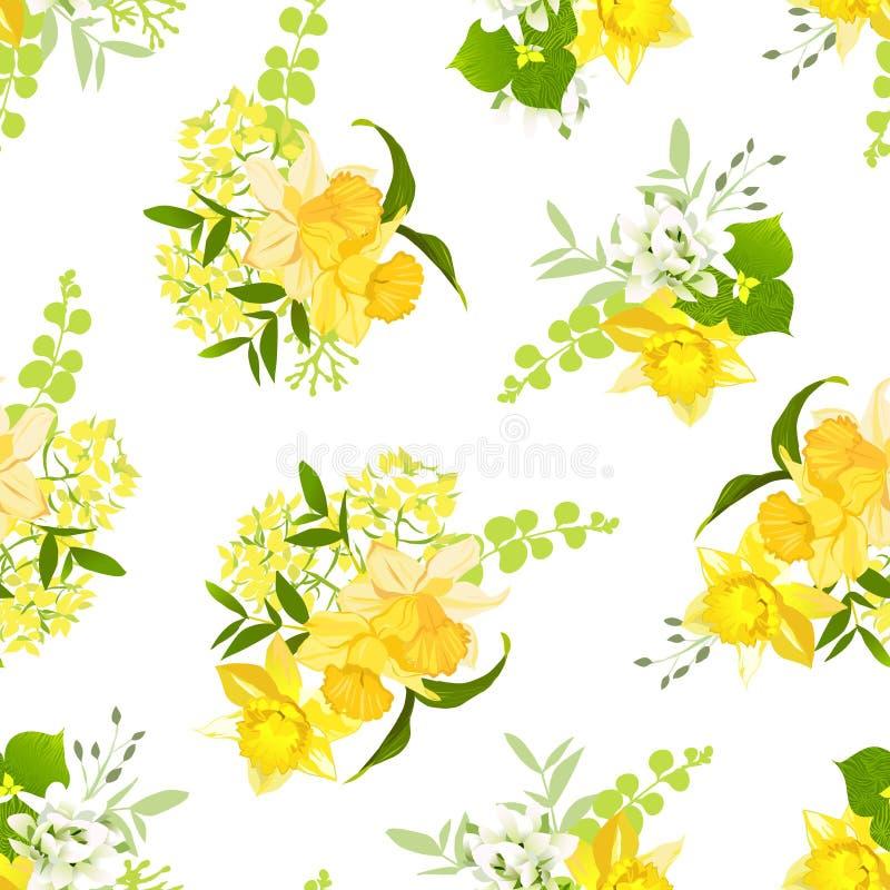 Gele boeketten van narcissen, wildflowers en kruiden naadloze vec royalty-vrije illustratie