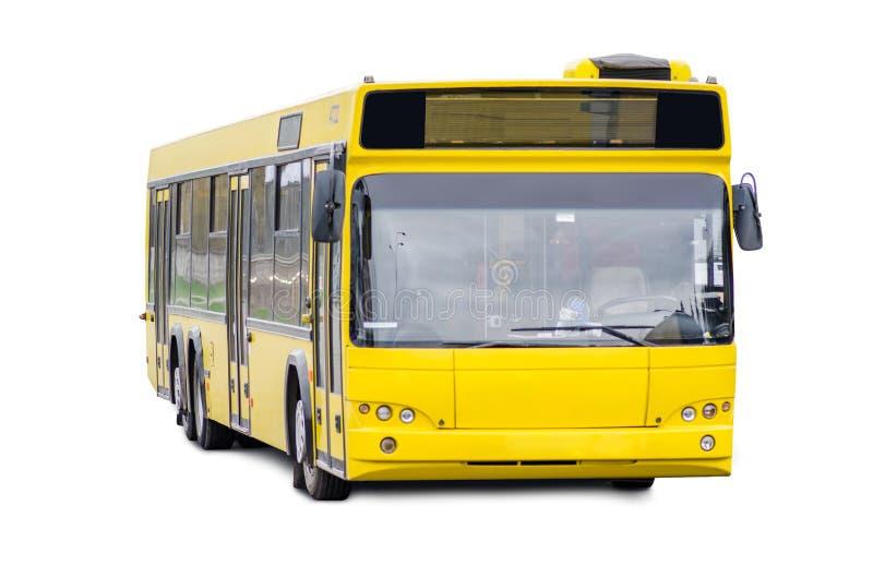 Gele bus op witte achtergrond stock afbeeldingen