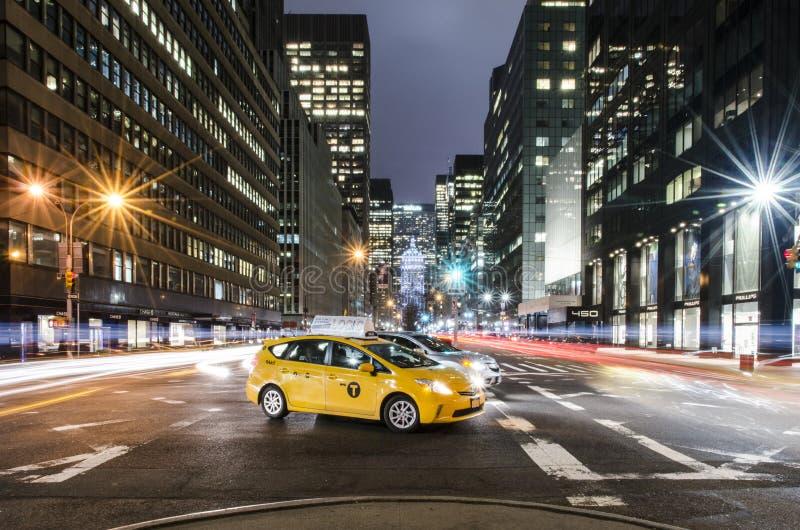 Gele Cabine op Park Avenue in NYC royalty-vrije stock afbeeldingen