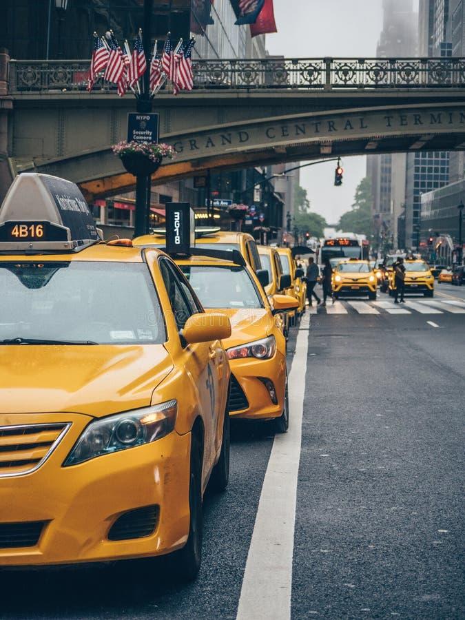 Gele Cabines in de Stad van New York royalty-vrije stock afbeelding