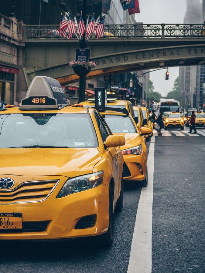 Gele cabines in New York royalty-vrije stock fotografie
