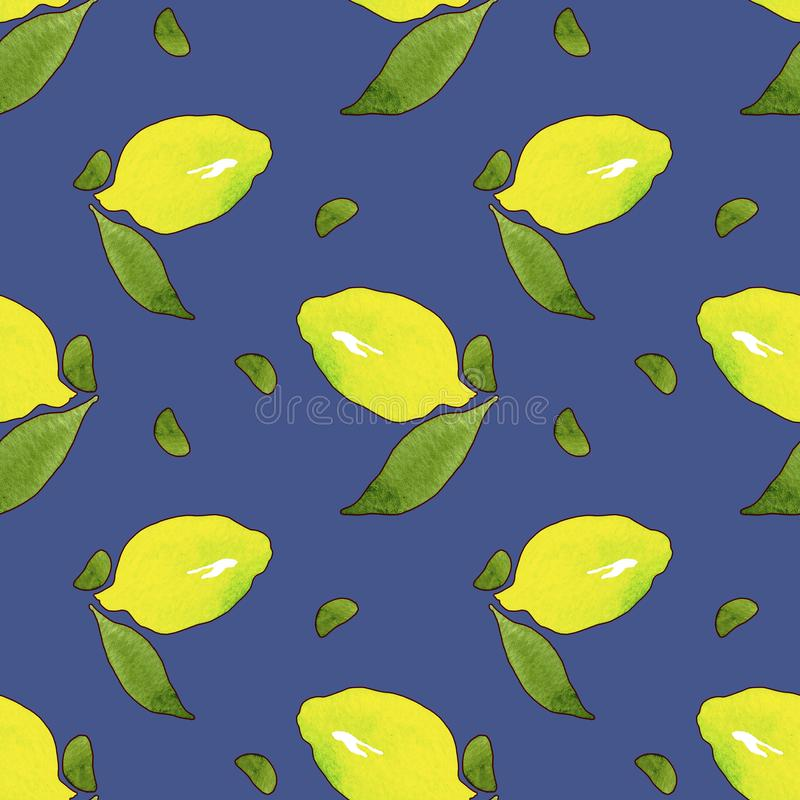 Gele citroenvruchten met groene bladeren die op blauwe achtergrond worden geïsoleerd Waterverf die naadloos patroon voor ontwerp  vector illustratie
