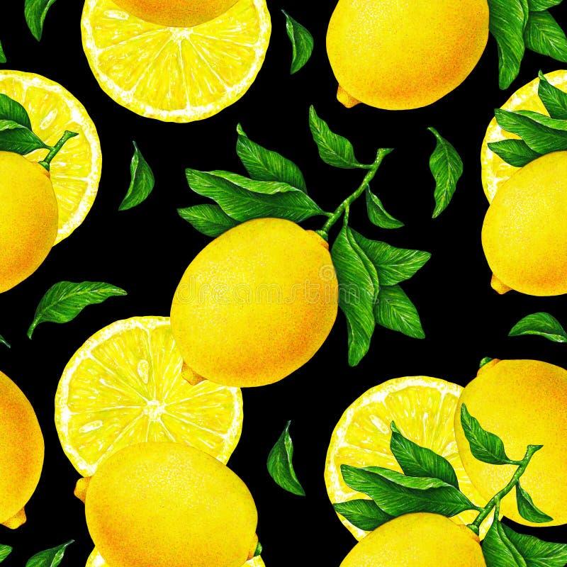 Gele citroenvruchten op een tak met groene bladeren op een zwarte achtergrond Waterverf die naadloos patroon voor textieldruk tre stock illustratie