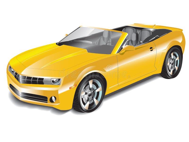 Gele Convertibele Sportwagen stock illustratie