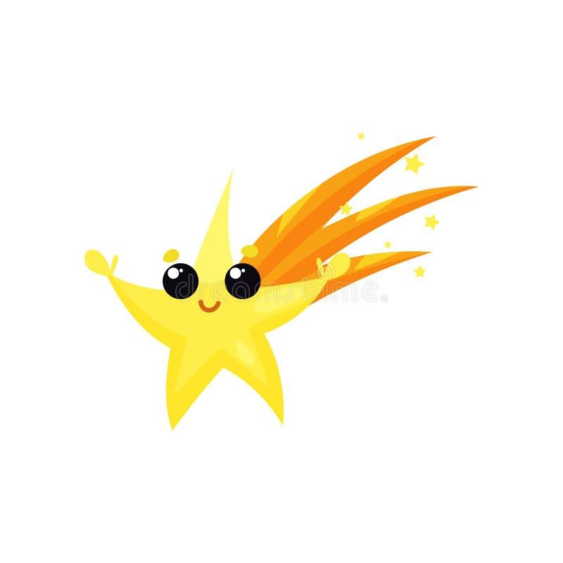 Gele dalende ster met leuk gezicht en kleine handen Het karakter van het beeldverhaalweer Kleurrijk vlak vectorelement voor mobie vector illustratie
