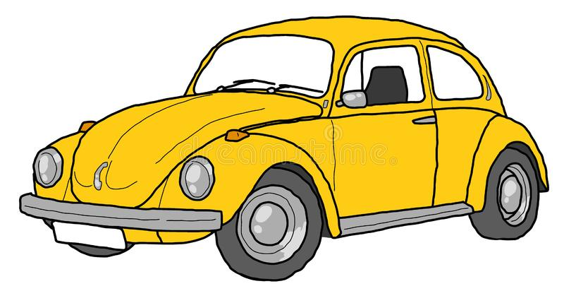 Gele de kunst retro auto van de keverlijn stock illustratie
