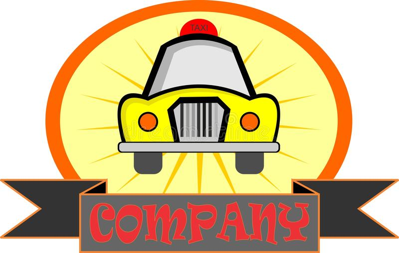 Gele de taxiauto van het voorraadembleem stock illustratie