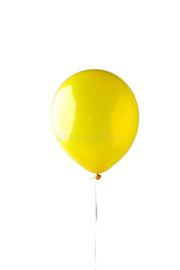 Gele die ballon op witte achtergrond wordt geïsoleerd stock afbeeldingen