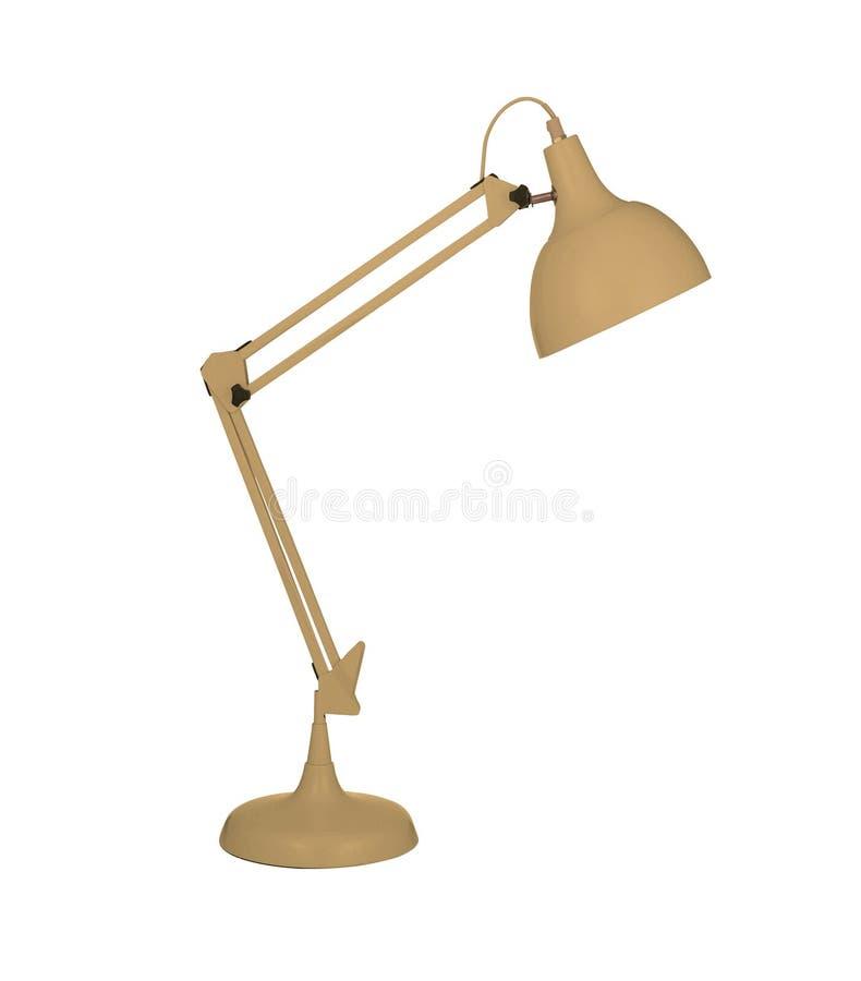Gele die bureaulamp op wit wordt geïsoleerd stock illustratie