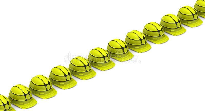 Gele die helmen in rijen worden opgesteld stock illustratie