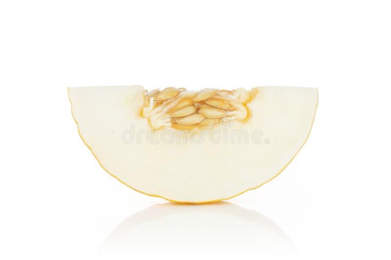 Gele die kanariemeloen op wit wordt geïsoleerd stock fotografie