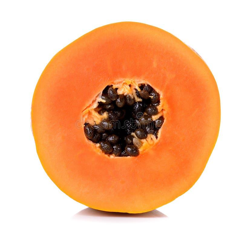 Gele die papaja op witte achtergrond wordt geïsoleerd royalty-vrije stock foto's