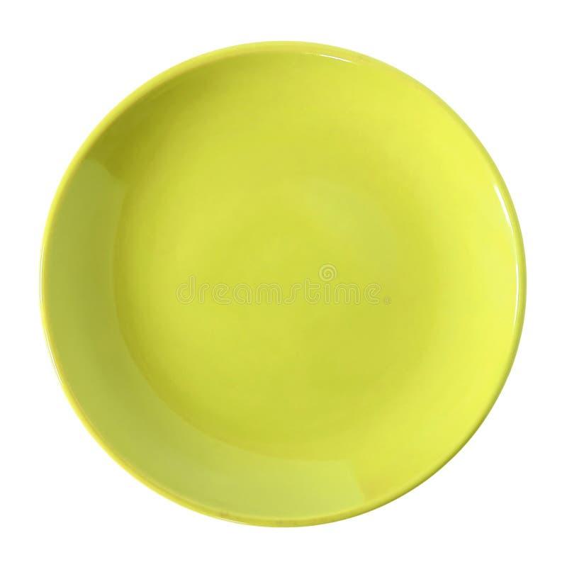 Download Gele Die Plaat Op Wit Wordt Geïsoleerd Stock Afbeelding - Afbeelding bestaande uit keukengerei, krommen: 39117371